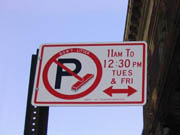 Alternate side parking sign